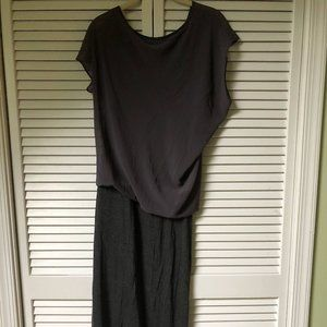 Anthropologie elegant grey maxi dress